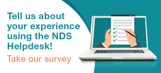 words tell us your experience using the nds helpdesk take our survey