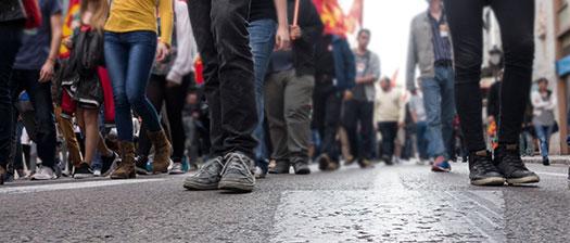 People's legs on a street