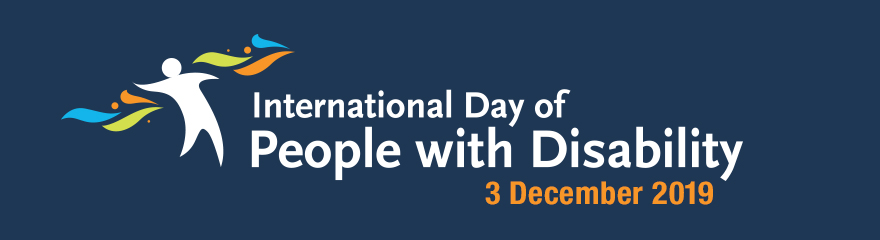 Icon of person dancing and text reading: 'International Day of People with Disability: 3 December 2019'