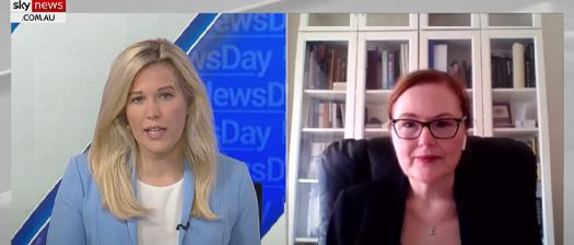 Image of Karen Stace being interviewed on Sky News