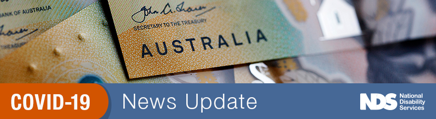 Australian currency banknotes with text COVID-19 news update