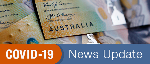 Australian currency banknotes with text COVID-19 update