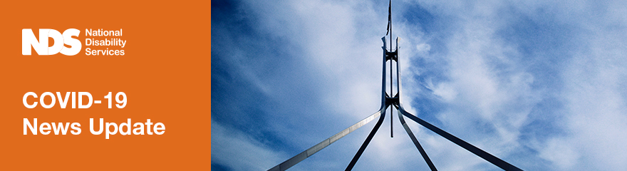 Parliament House landmark against sky text reads COVID-10 news update