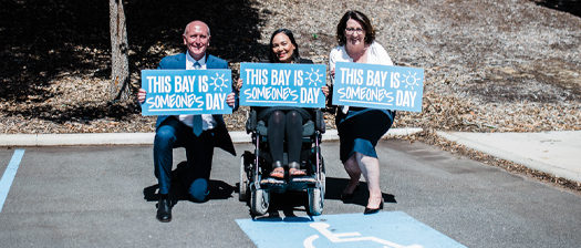 Image of Minister Stephen Dawson, Julie Waylen and Jocelyn Franciscus from NDS