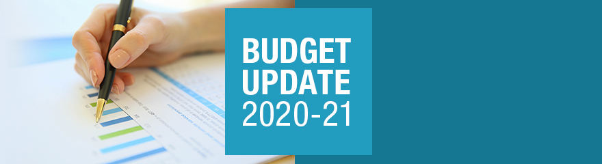 Image reads: Budget update 2020-21