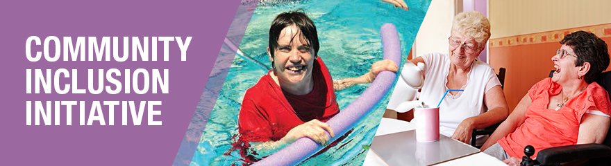 A montage of photos of people with disability in the community and the text 'Community Inclusion Initiative Factsheets'