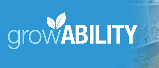 The GrowABILITY logo with a leaf on top