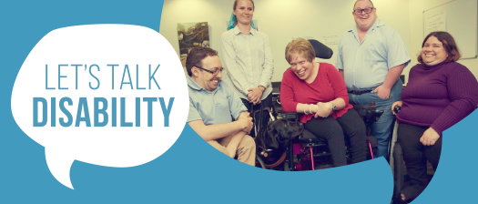 Let's Talk Disability logo banner with photo of presenters laughing