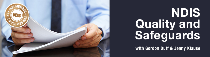 Person holding a paper document with text reading 'NDIS Quality and Safeguards member webinar'