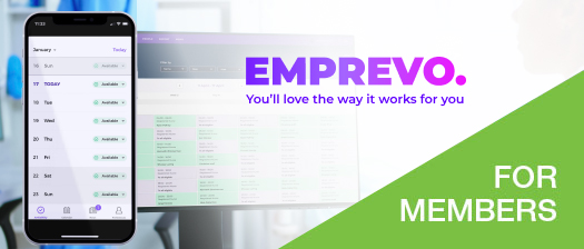 Image reads: Emprevo, you'll love the way it works for you. For members