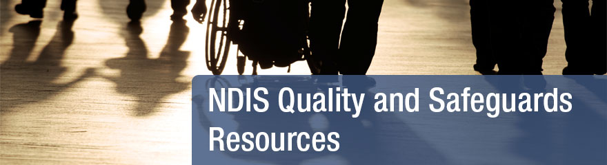 ndis quality and Safeguards resources banner. Photo of a people's shadows.