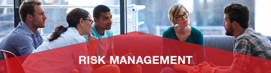 Group of people in a meeting with the banner 'risk management'